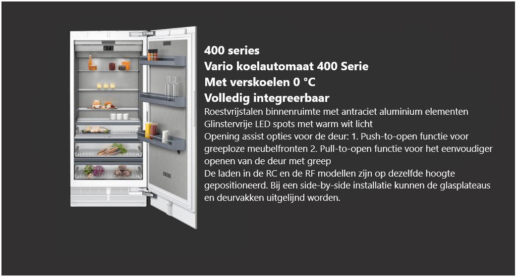 Volledig integreerbare Vario koelautomaat 400 serie