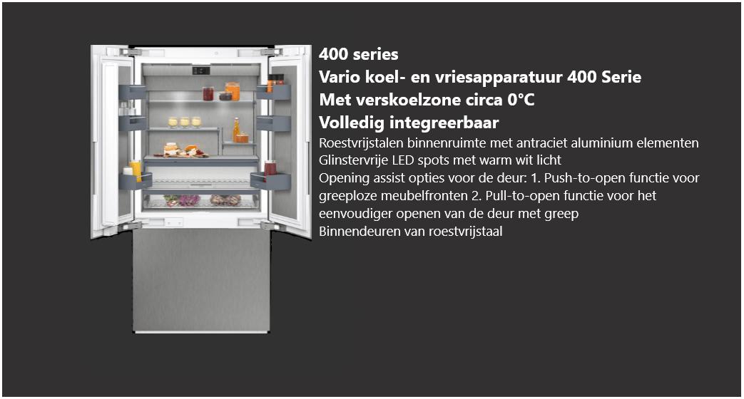 Volledig integreerbare Vario koel- en vriesapparatuur 400 serie