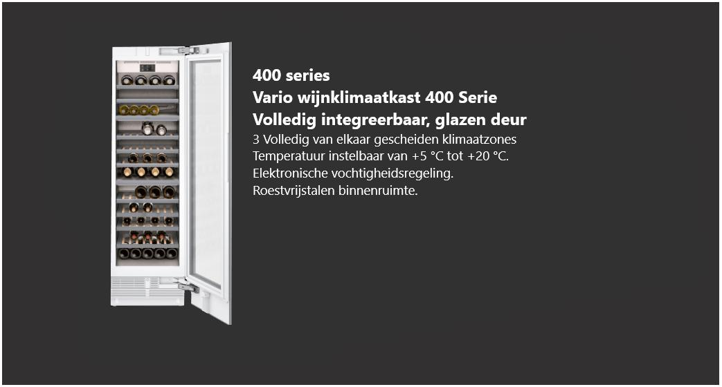 Volledig integreerbare Vario wijnklimaatkast 400 serie