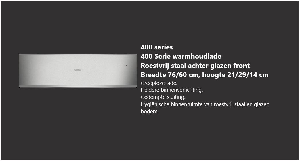 Roestvrijstalen warmhoudlade 400 serie